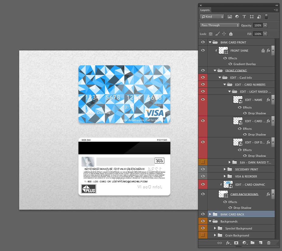 Bank Card Template Layers