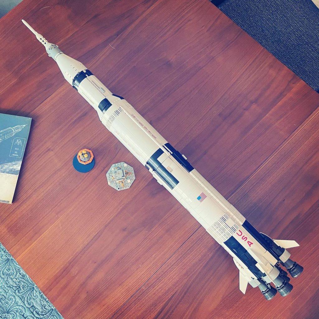 lego apollo 11 rocket fully built