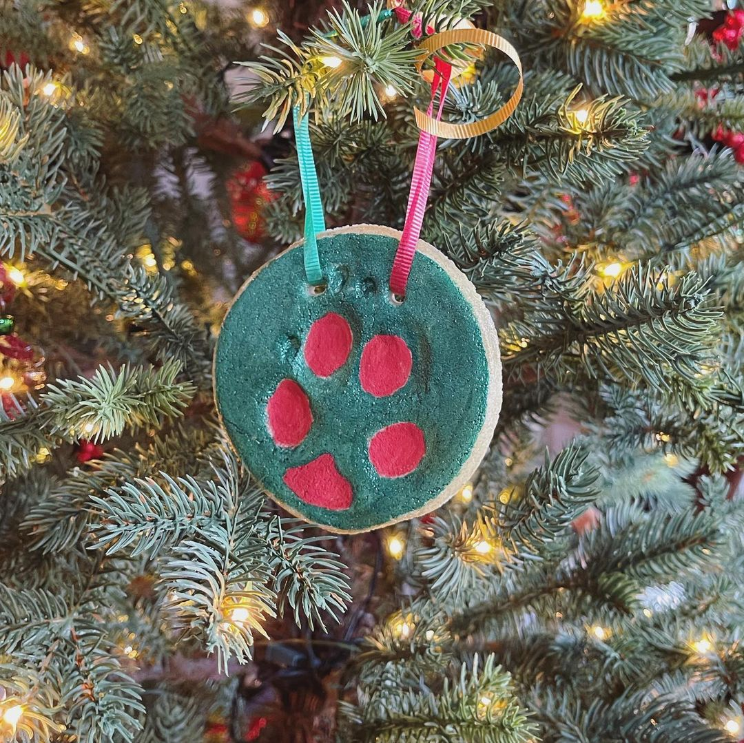 A Happy Puppy Paw Ornaments Holiday